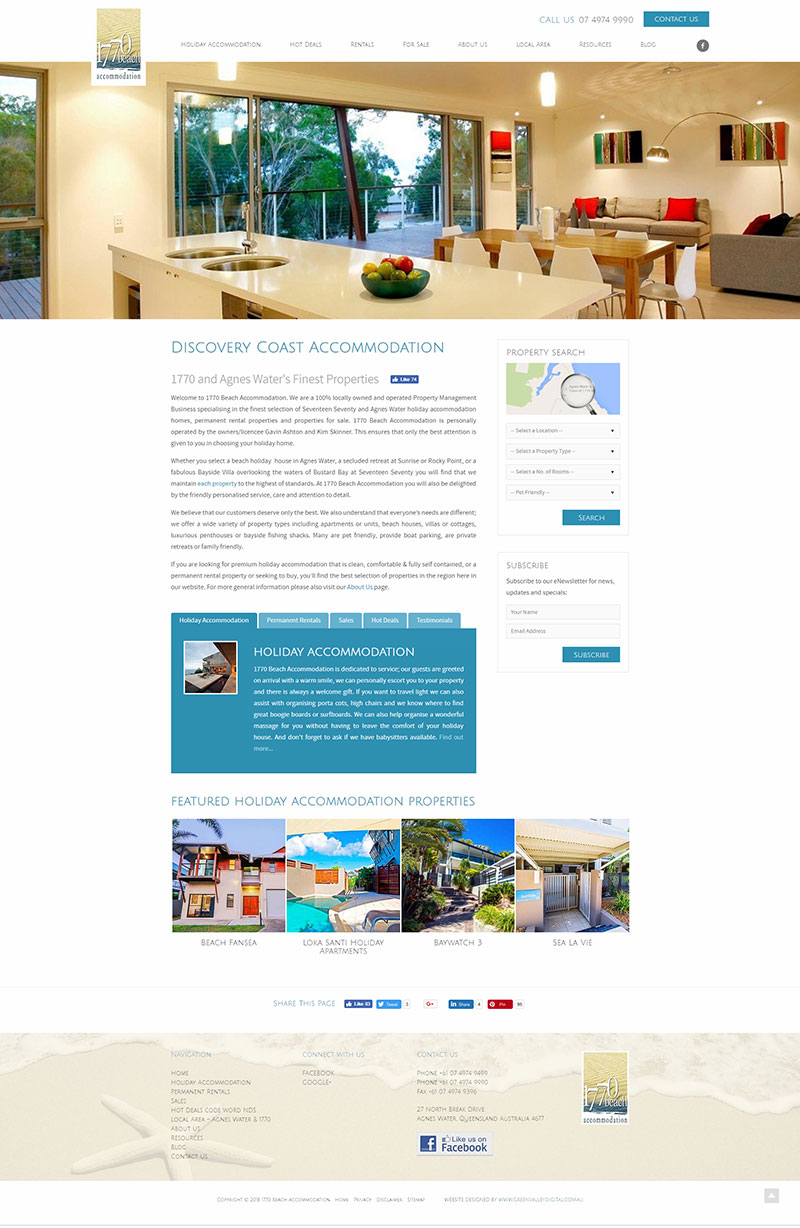 1770 Beach Accommodation - website home page design