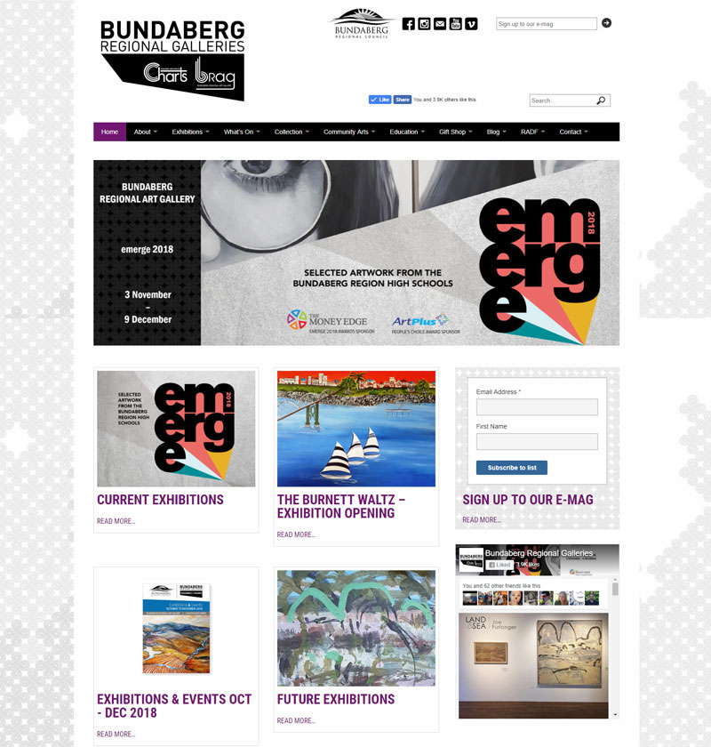 Bundaberg Regional Galleries - part of the website home page