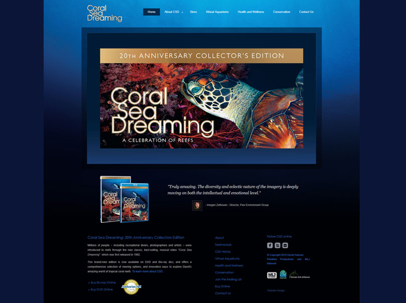 Coral Sea Dreaming - Website Home Page 2012