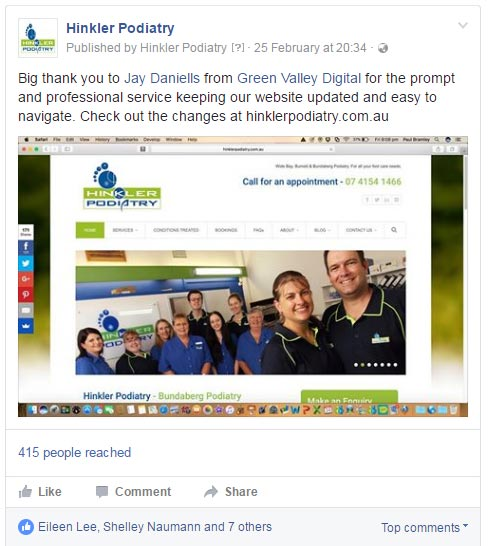Hinkler Podiatry - screenshot of their facebook post