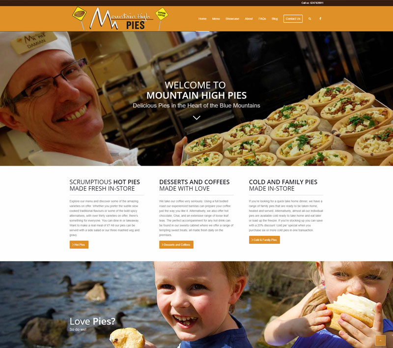 Mountain High Pies - website design