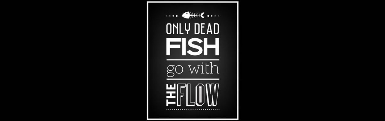 Only Dead Fish Go With The Flow – graphic
