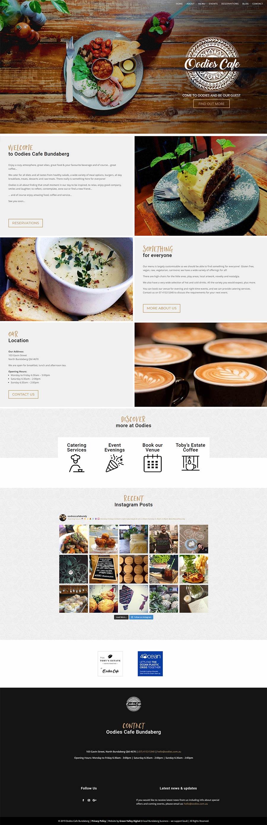 Oodies Cafe - Bundaberg - website design - home page