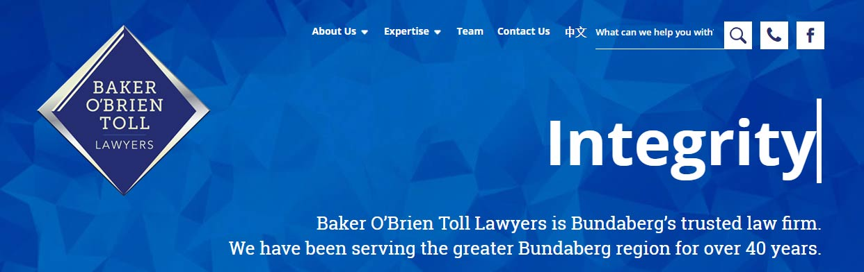 Law Firm website Bundaberg - Baker O'Brien Toll Lawyers