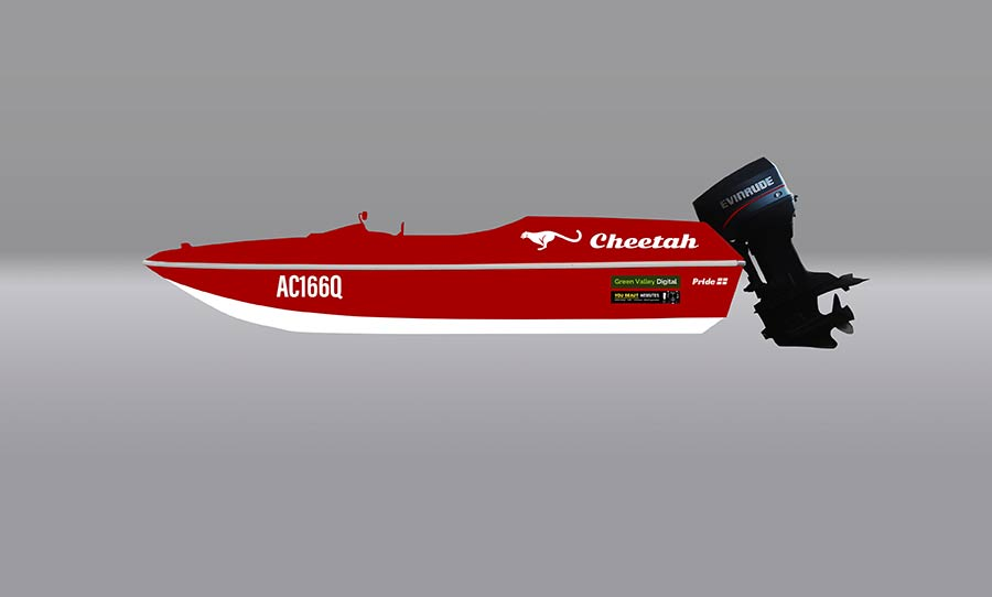 pride Cheetah ski boat - paint and decal concept