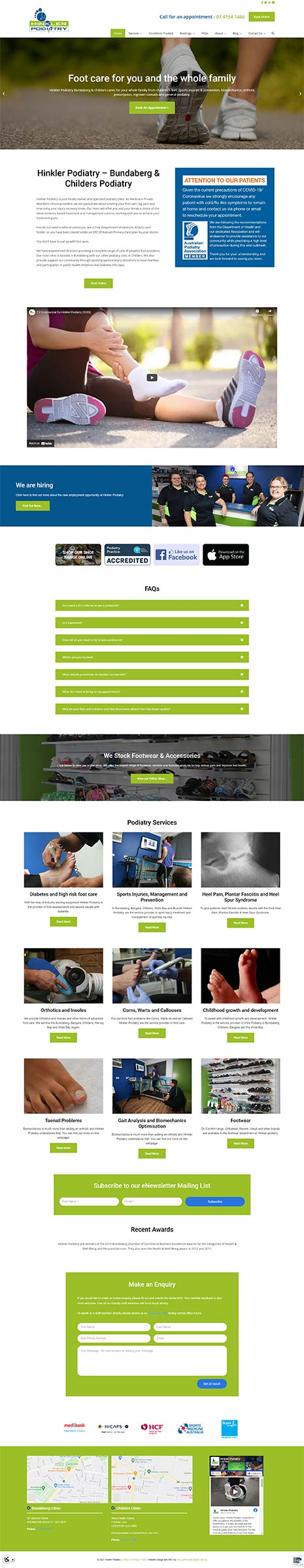 Hinkler Podiatry - new website