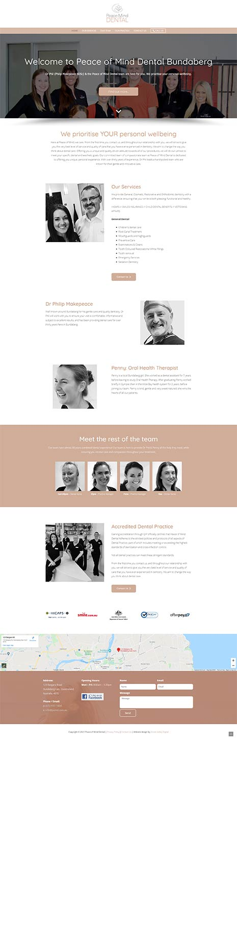 Peace of Mind Dentist - website
